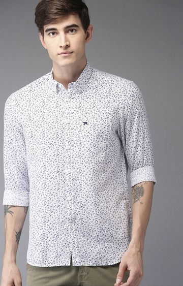 The Bear House | White Printed Casual Shirt