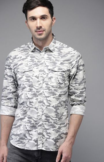 The Bear House | White Camouflage Casual Shirt