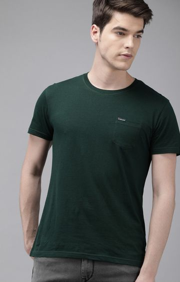 The Bear House | Green Solid T-Shirt