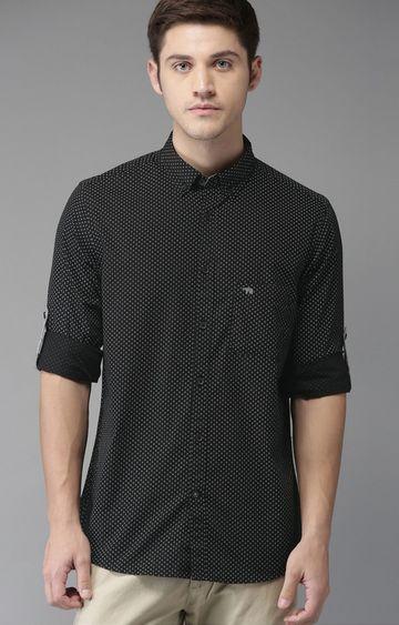 The Bear House | Black Printed Casual Shirt
