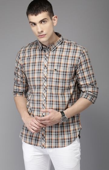 The Bear House   Grey Checked Casual Shirt