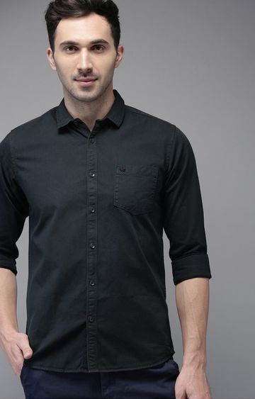 The Bear House   Blue Solid Casual Shirt