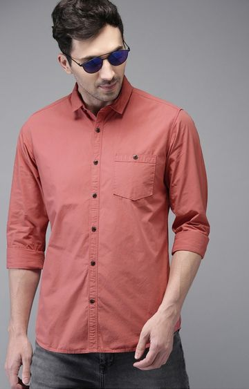 The Bear House   Rust Solid Casual Shirt