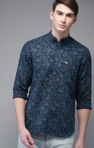 The Bear House | Blue Printed Casual Shirt