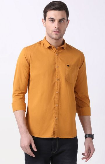 The Bear House | Mustard Solid Casual Shirt