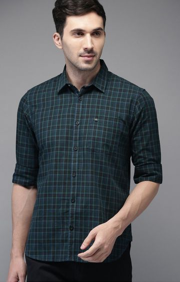 The Bear House | Green Checked Casual Shirt
