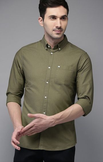 The Bear House | Green Solid Casual Shirt