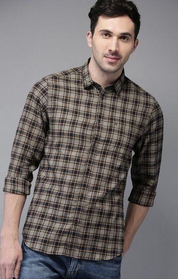 The Bear House   Grey Melange Checked Casual Shirt
