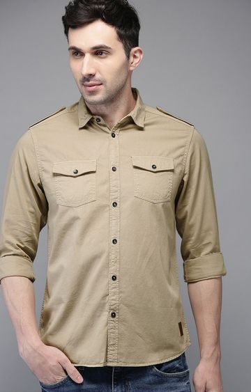 The Bear House | Beige Solid Casual Shirt