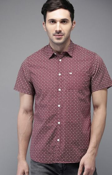 The Bear House | Maroon Printed Casual Shirt