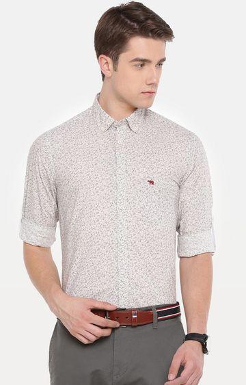 The Bear House   Beige Printed Formal Shirt