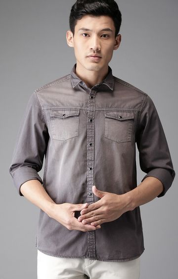 The Bear House   Grey Solid Casual Shirt