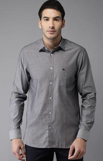 The Bear House   Grey Melange Formal Shirt