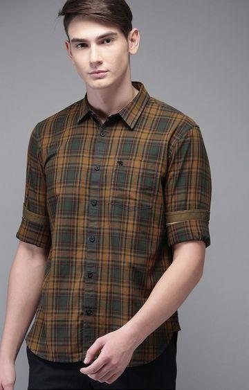 The Bear House | Ochre Checked Casual Shirt