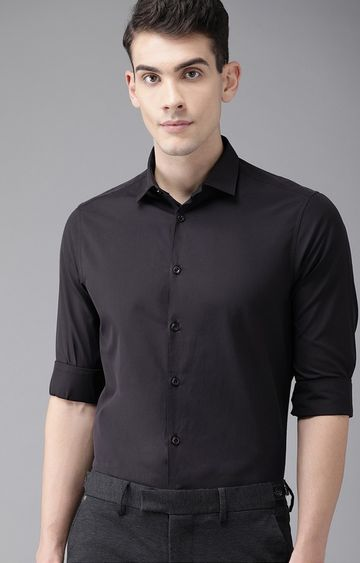 The Bear House | Black Solid Formal Shirt