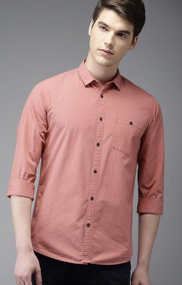 The Bear House | Peach Solid Casual Shirt