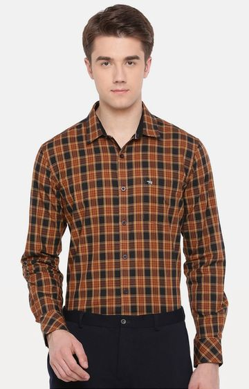The Bear House | Black and Brown Checked Formal Shirt