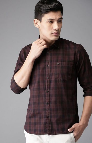 The Bear House | Maroon Checked Casual Shirt