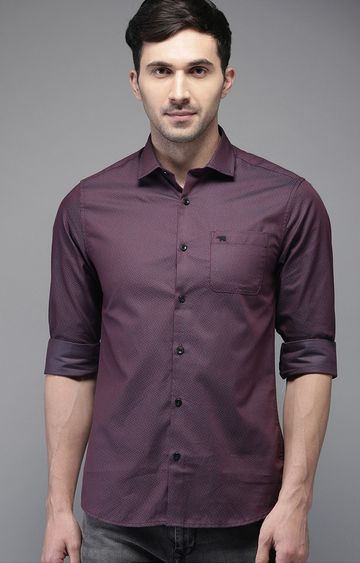 The Bear House | Purple Printed Formal Shirt