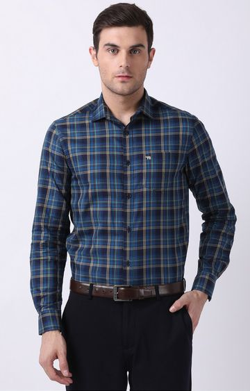 The Bear House | Blue Checked Formal Shirt