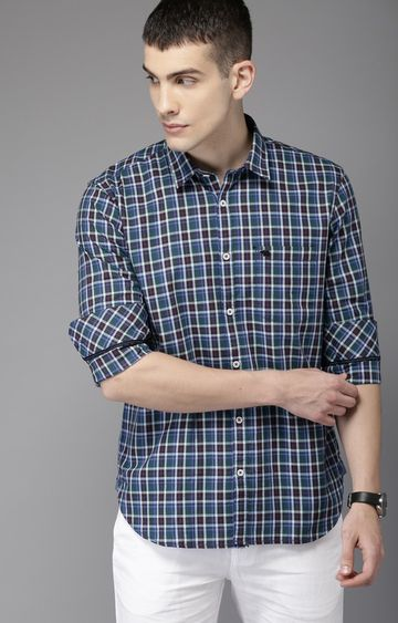 The Bear House | Maroon and Green Checked Casual Shirt