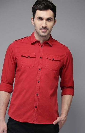 The Bear House | Red Solid Casual Shirt