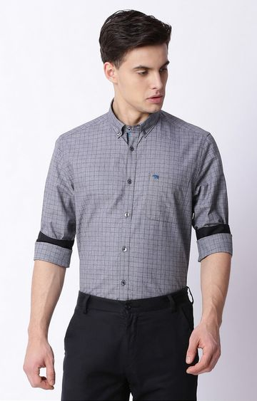 The Bear House | Grey Checked Formal Shirt