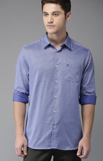 The Bear House | Blue Solid Formal Shirt