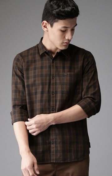 The Bear House | Brown Checked Casual Shirt