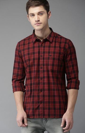 The Bear House | Red Checked Casual Shirt