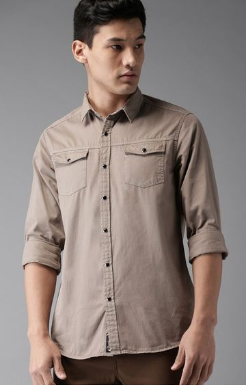 The Bear House   Tan Solid Casual Shirt