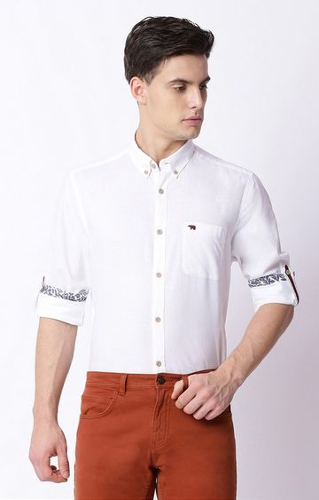 The Bear House | White Solid Formal Shirt