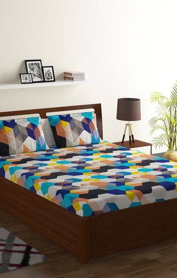 ISpace | IWS 144 TC Microfiber Double Geometric Bedsheet (Pack of 1, Multicolor)
