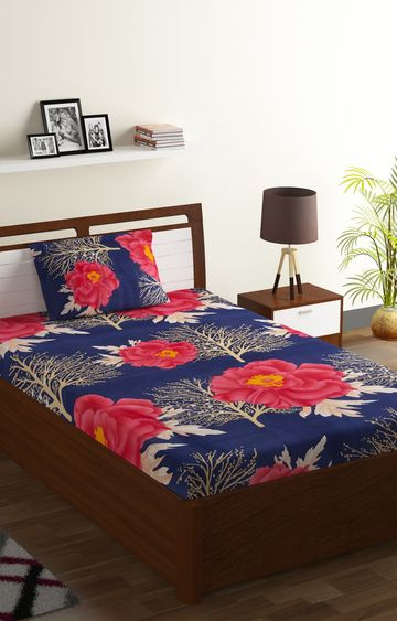 ISpace | IWS 144 TC Microfiber Single Floral Bedsheet (Pack of 1, Multicolor)