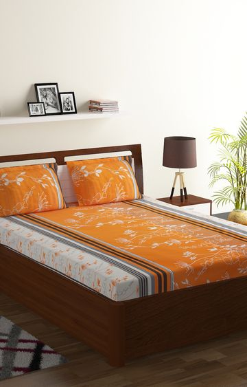 ISpace | IWS 104 TC Cotton Double Printed Bedsheet (Pack of 1, Orange, White)