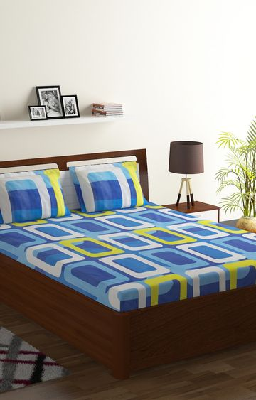 ISpace | IWS 104 TC Cotton Double Printed Bedsheet (Pack of 1, Multicolor)