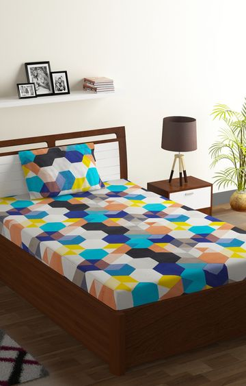 ISpace | IWS 144 TC Polyester Single Geometric Bedsheet (Pack of 1, Multicolor)
