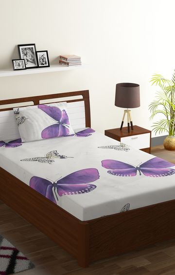 ISpace | IWS 144 TC Microfiber Single 3D Printed Bedsheet (Pack of 1, Purple)