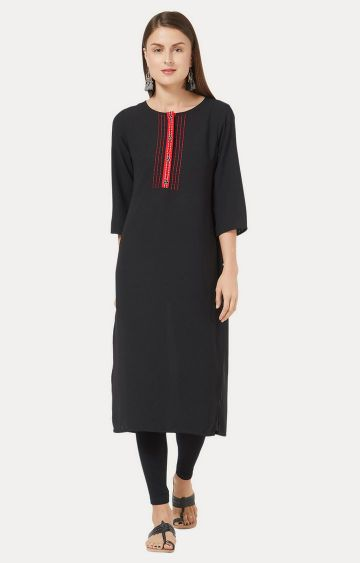Desi Belle | Black Embroidered Kurta