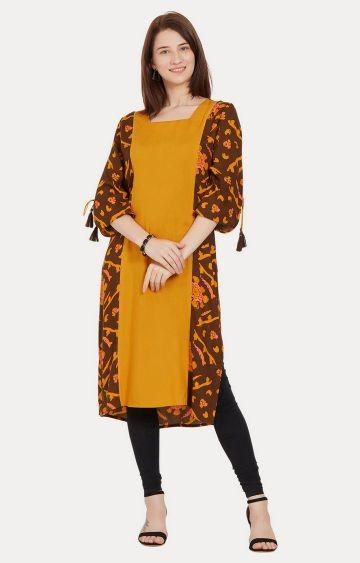 Desi Belle | Mustard and Brown Printed Kurta
