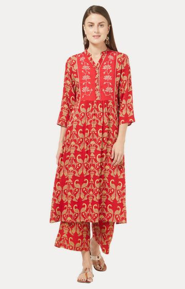 Desi Belle | Red Printed Kurta