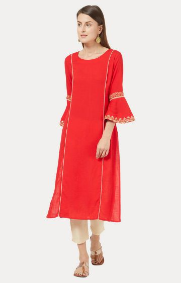Desi Belle | Red Solid Kurta