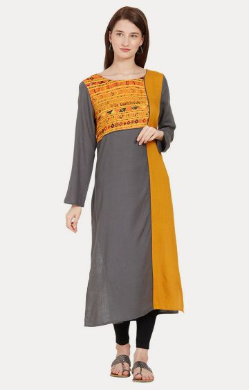 Desi Belle | Grey and Mustard Printed Kurta