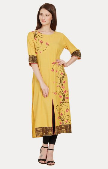 Desi Belle | Yellow Printed Kurta