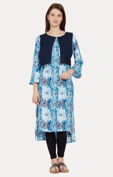 Desi Belle | Blue Printed Asymmetric Kurta
