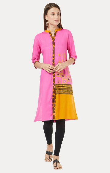 Desi Belle | Pink Printed Regular Kurti