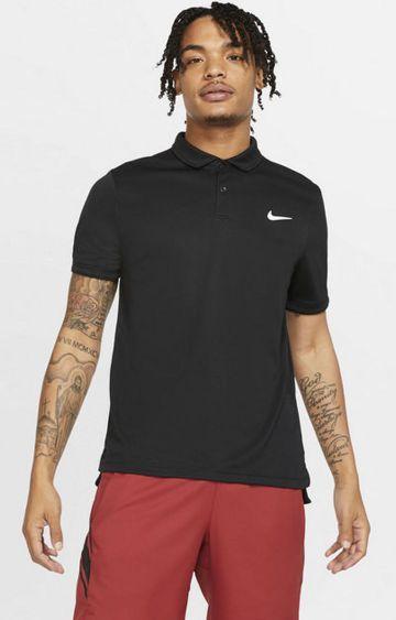 Nike   Black Solid Dri-Fit Polo T-Shirt