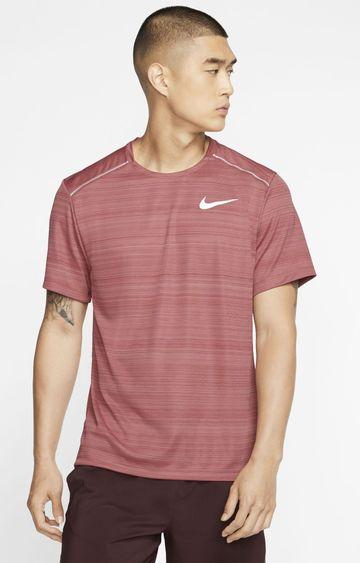 Nike | Maroon Striped Dri-Fit Miler T-Shirt