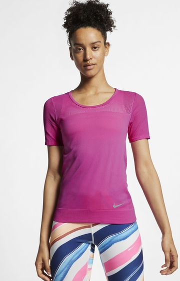 Nike   Pink Solid T-Shirt