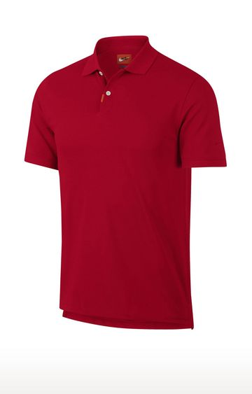 Nike | Red Unisex Solid Polo T-Shirt